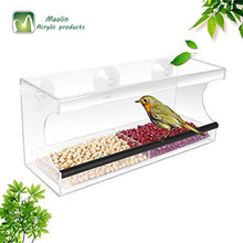 2018 4top Garden Acrylic Window Bird Feeder with Strong Suction Cups and Seed Tray and Great Gift for Wild Birds