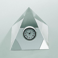 Wholesale office gift set crystal glass pyramid with small clock for office decoration