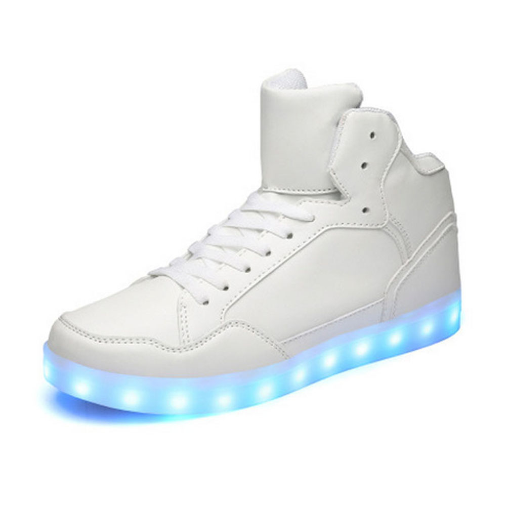 Fashion Cheap Black White Colors Unisex USB Charge Light High Top Flat LED Shoes For Adults