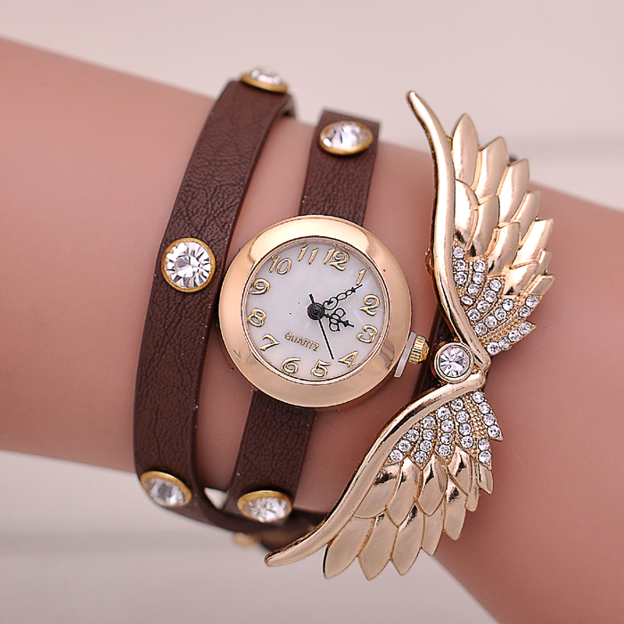 Angel's Wing Pendant Charm Women Colored Leather Strap Relojes De Marca