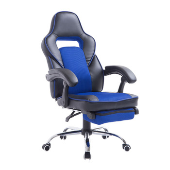 Race Car Style High Back PU Leather Reclining Office Chair with Footrest - Blue
