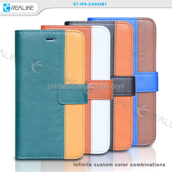 Mix color wallet case for smart phone iphone 6,for iphone 6 cover