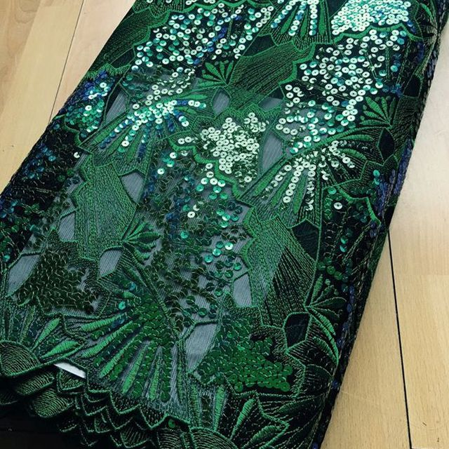 green Sequins French Lace Fabric African Embroidery Tulle Lace With Sequence For Bridal Dress Wedding