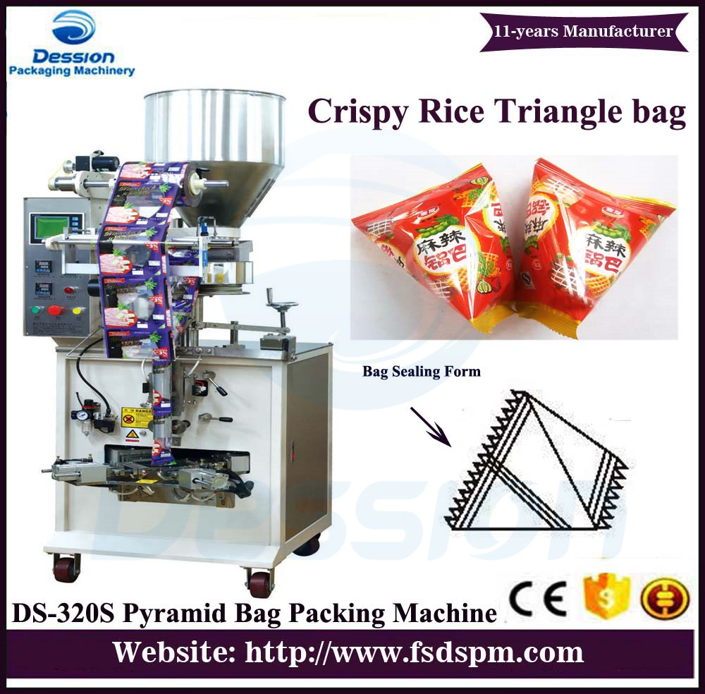 Rice Crispy / snacks / Puffed food automatic packaging machines with pyramidal triangle bag type
