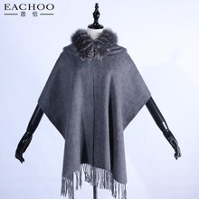 100% Real cashmere for lady fur shawl with real fox fur collar