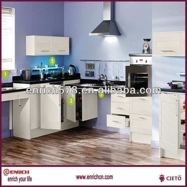 Modern white PVC thermal foil wood kitchen cabinet(JC131585)