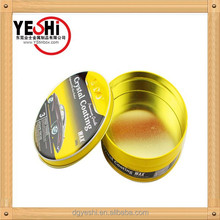 high quality crystal coating wax packing, round metal box forcar wax packing
