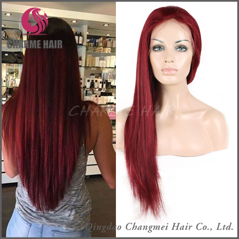China Golden Supplier Wholesale Red Color Peruvian Hair Wig