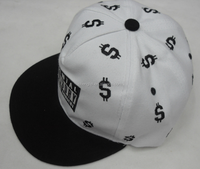 Cheap wholesale flat brim hip hop sanpback cap and hat with embroidery