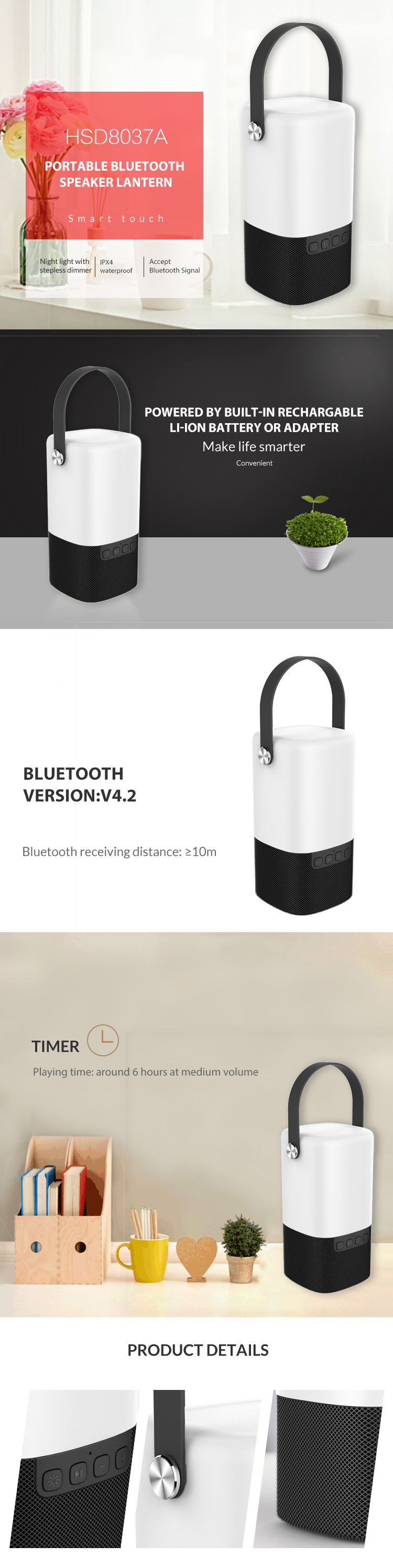 Good Reputation 8 Rechargeable Speaker With Battery Speakers Handle
