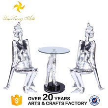 Outdoor decoration resin lady chairs glass coffee table set