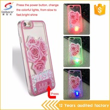 Super luxury shockproof led liquid sand plastic case for iphone 5 5s