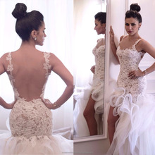 Lace Straps Bridal Gown Custom Size Mermaid High Low Ruffled Lace Wedding Dress MW2551