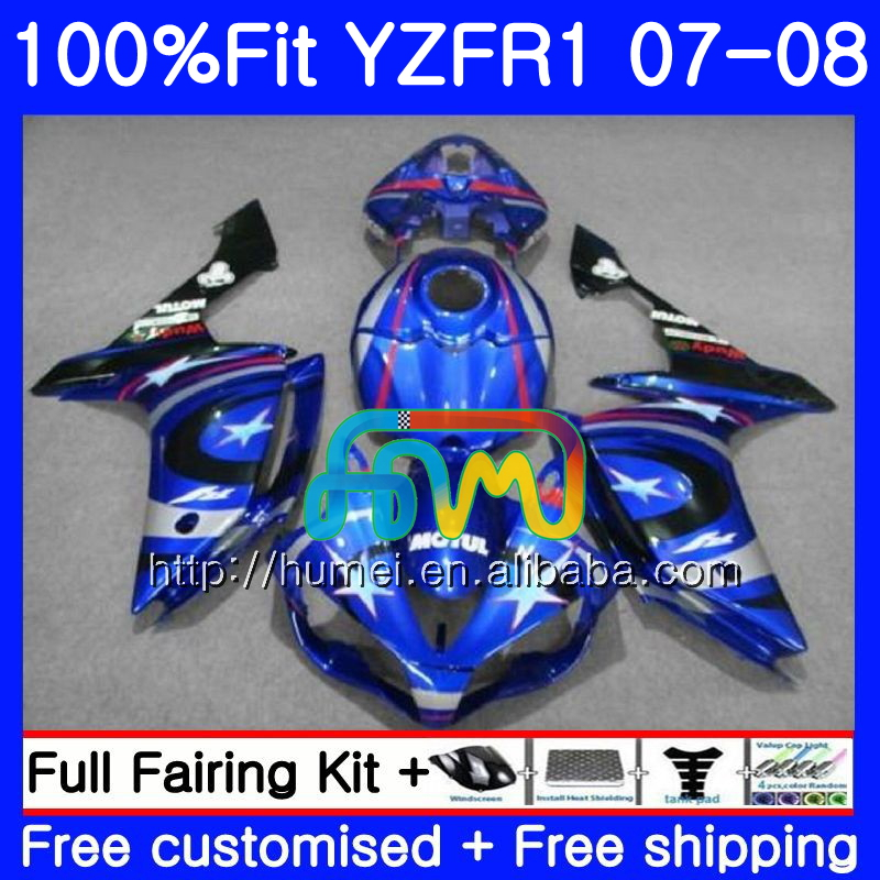 gloss blue Injection Body For YAMAHA YZF <strong>R1</strong> 07 08 YZF-<strong>R1</strong> 2007 <strong>2008</strong> 90HM54 YZF1000 YZFR1 YZF-1000 YZF 1000 R 1 07 08 <strong>Fairings</strong>