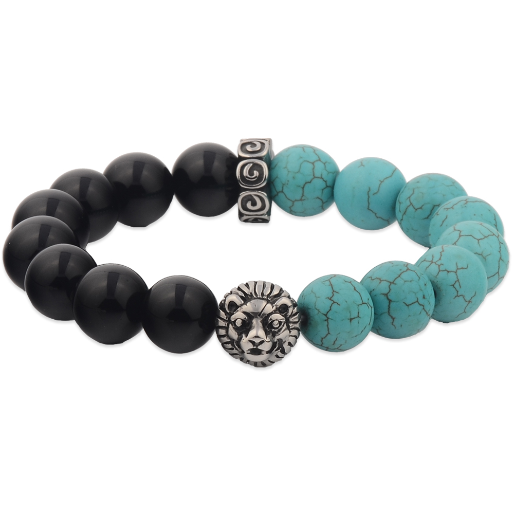 Stainless Steel Stretch Turquoise Beads Genuine Stone Bracelet