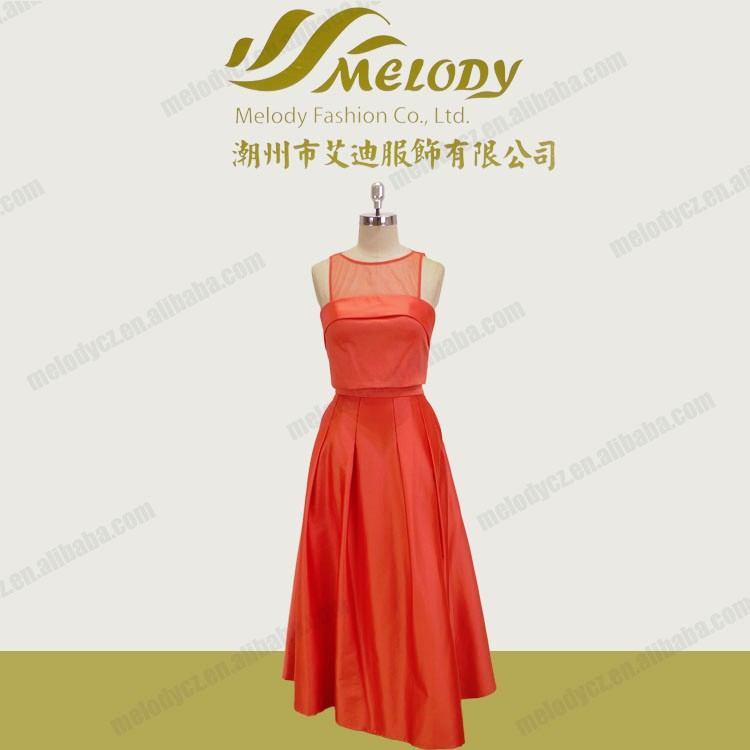 Orange tulle satin sash floor-length evening women dress pictures of latest gowns design