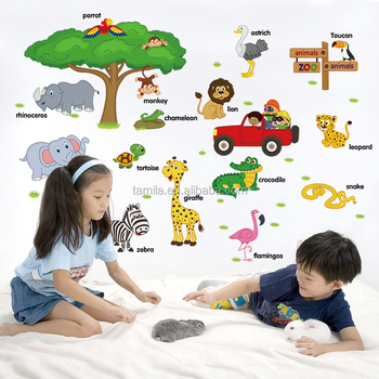 Jungle Forest Animals Wall Decal Wall Sticker for Kids Nursery Playroom