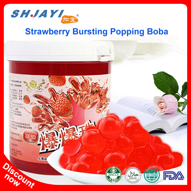 Taiwan Strawberry Flavor Popping Juice Balls Bursting Boba Tapioca Pearls For Health Bubble Tea Drinks