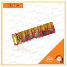 Blister Card Packgae CR2016 3V Button Cell Lithium Batteries, Coin Cell