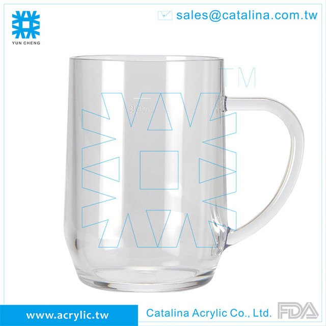 Simple Design Transparent Clear Acrylic Plastic 300ml Beer Mug