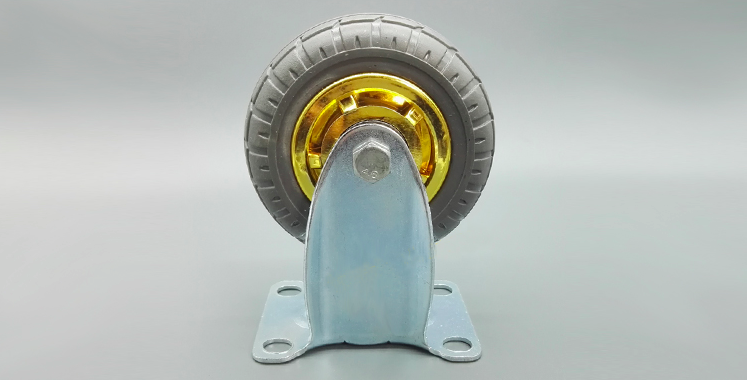 Durable pvc medium duty industrial rubber fixed caster / medium business machine casters