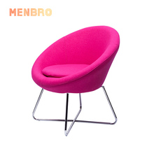 Red Modern design fabric stainless steel sedie living room <strong>Furniture</strong> upholstered round accent chair