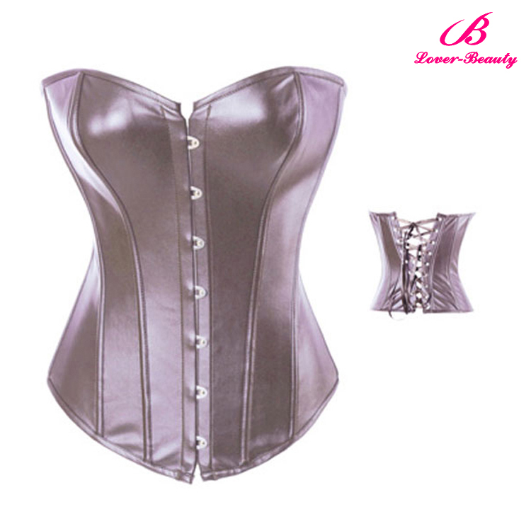 Wholesale sliver leather steel boned corsets,sexy leather corset