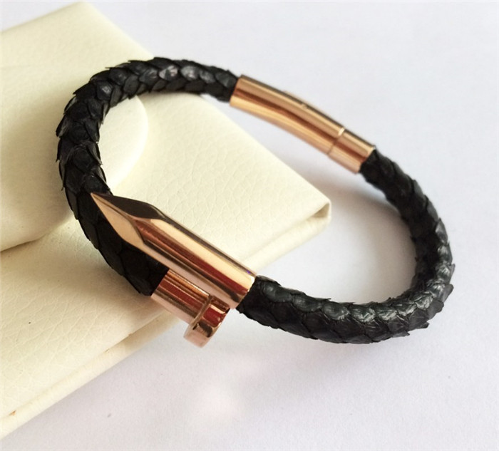 Custom Real Python Leather Gold Rose Gold Nail Bracelet_9