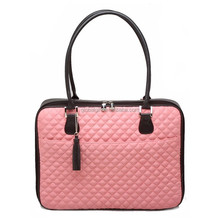 14.1 inch Pink Diamond Quilted Pattern With White Accent Trim Bubble Foam Padded Cute Laptop Bag Carrying Case