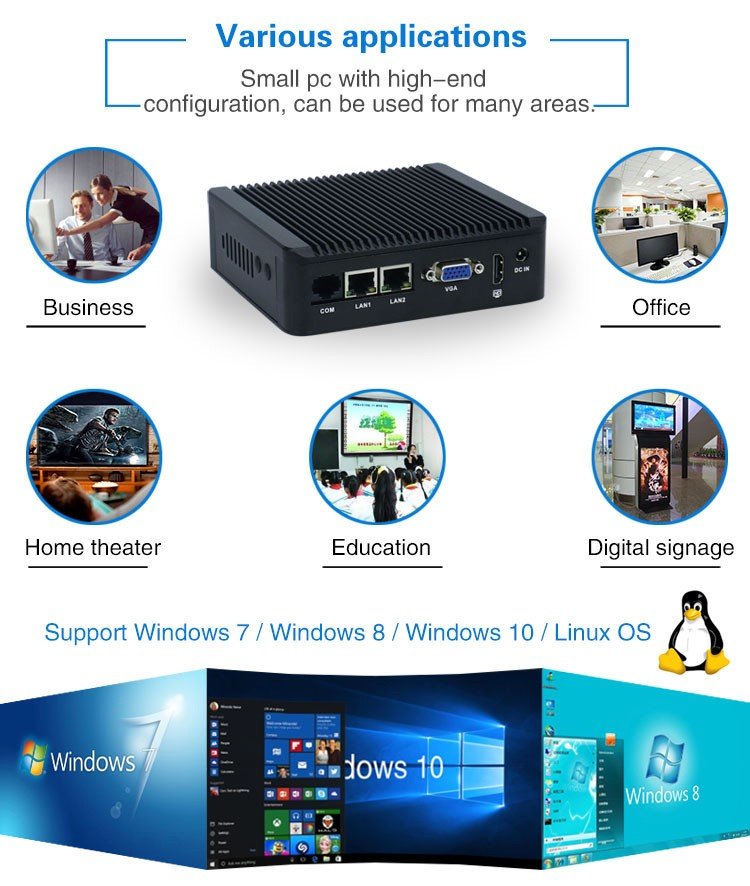 Ultra low power J3160 quad core fanless windows10 mini pc embedded