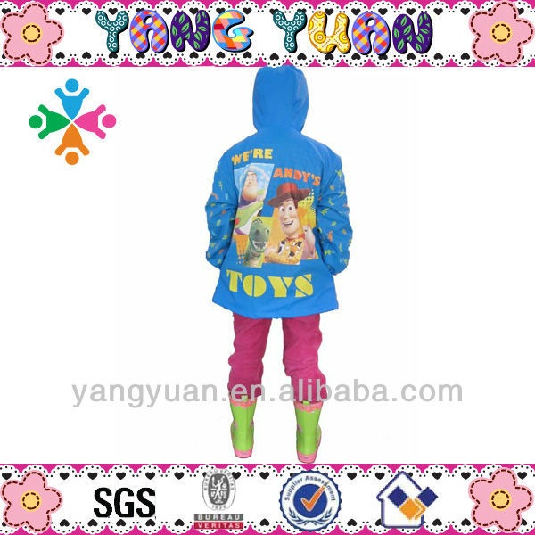 100% PU kids disposable poncho cool raincoat