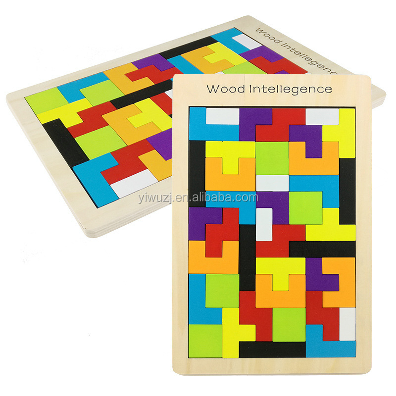 Colourful 3d Wooden puzzle Colorful Tangram Puzzle Tetris brick pass game Russia square blocks