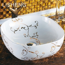 Simple generous color printing round ceramic decorative art wash face basin one piece bathroom sink and countertop