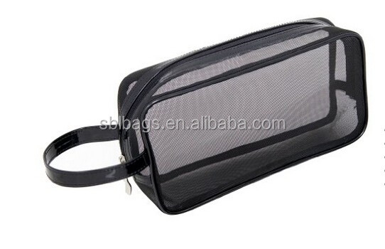 2015 hot sale Black Nylon Mesh Makeup cosmetic Bag / small nylon mesh make up cosmetic bag