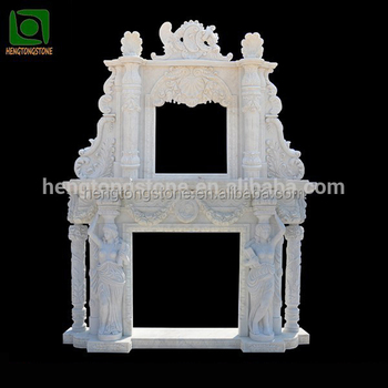 Double White Marble Lady Statue Design Fireplace Surround