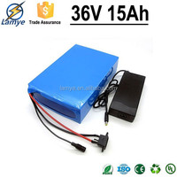 Highly Recommend Competitive price 18650 cell 36v lithium electric bike battery 36v 15ah with 15 Amp BMS and 42v 2.0A Charger