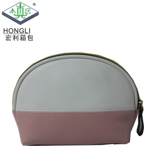 high quality half round pink custom women travel toiletry zipper PU leather cosmetic bag