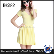 MGOO 2015 Custom Made Pleated Yellow DRESS Sweet Short Sleeves Knitted Women Knitted Casual Dress D374