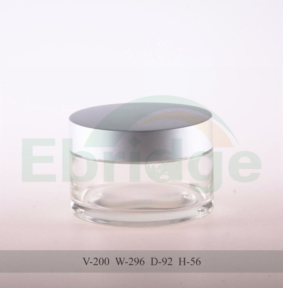200ml round cosmetics cream empty glass jars and lids
