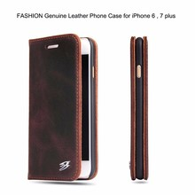 Genuine Real Leather Wallet Flip Cases Cover For iPhone 5S 5C 6 6S 7 7Plus with Magnet Adsorptoin with Card Slot