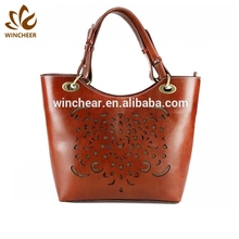 High-capacity brown hollow ostrich grain pu handbag india ethnic bags leather bag for women