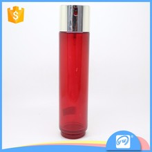 A1990-100ML silver uv gavanized cap red color scrub glass perfume bottle for sale