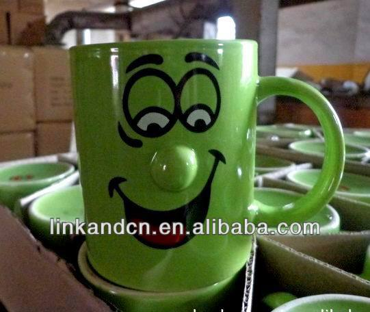 Funny smile nose design stoneware/ceramic mug