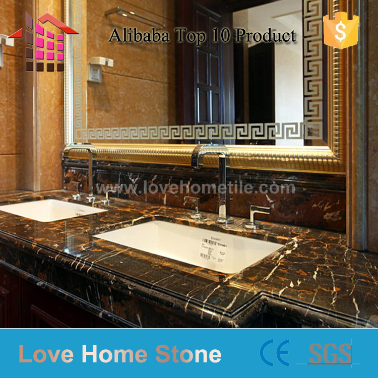 Italy Supplier black marble with gold vains
