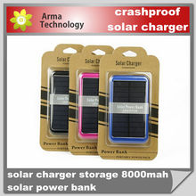 Solar Power bank 8000mah solar panel charger External Battery for iphone 5, samsung S4/Tablet PC