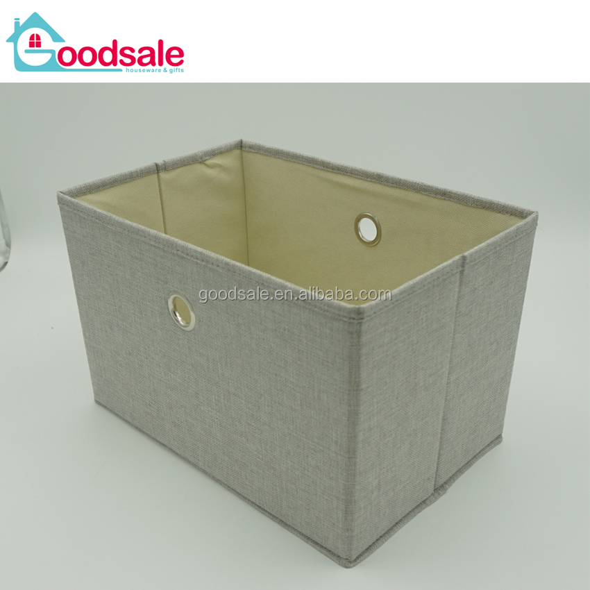 Custom cube linen fabric storage box folding multipurpose storage toy organizer bins for household