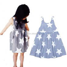 Children Baby Clothes 2017 Cheap Summer Star Pattern Casual Sleeveless Latest Party Wear Girl Dresses for 2-10 years
