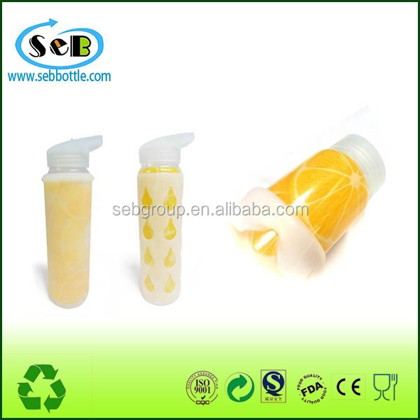 Glass water bottle with silicone sleeve silicone rubber cup sleeve silicone sleeve
