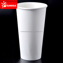Disposable cold and hot paper drink cup white