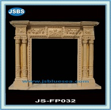 Yellow Stone Fireplace With Column